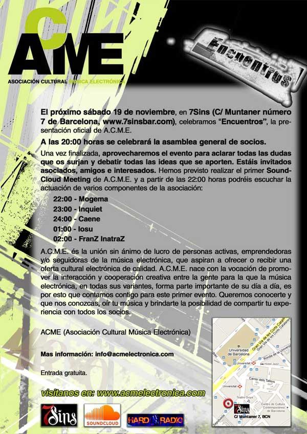 """Sábado 19 de noviembre, en 7Sins, celebramos """"Encuentros"""", la presentación oficial de A.C.M.E.   19nov_petit_v3_91k-224f0dc"""